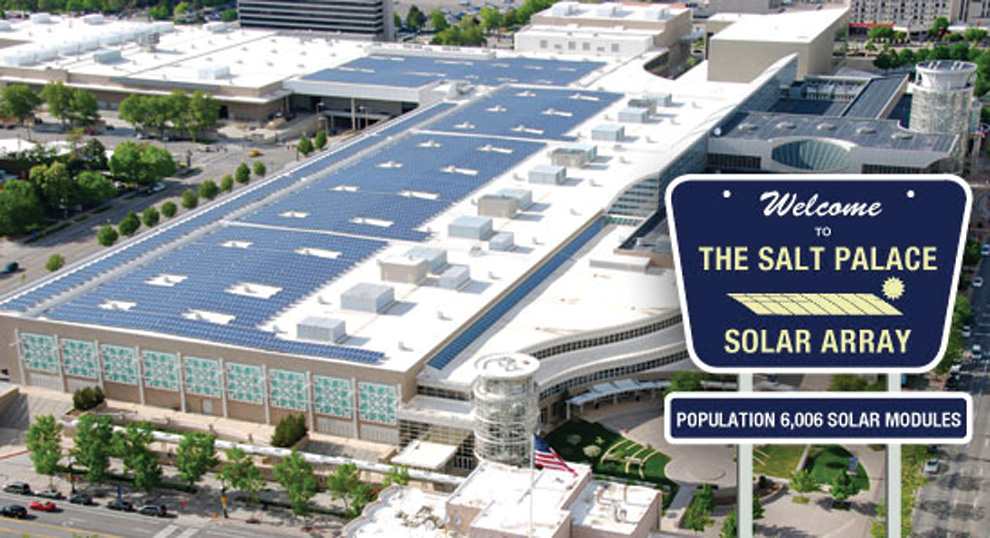Bella Energy installed 1.65 MW of PV panels on the roof of the Salt Palace convention center in Salt Lake City.