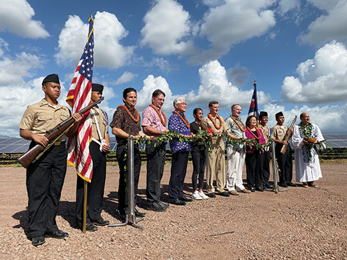 At the Hawaiian blessing and dedication ceremony for the West Loch Solar Project. This is part of the ceremony.